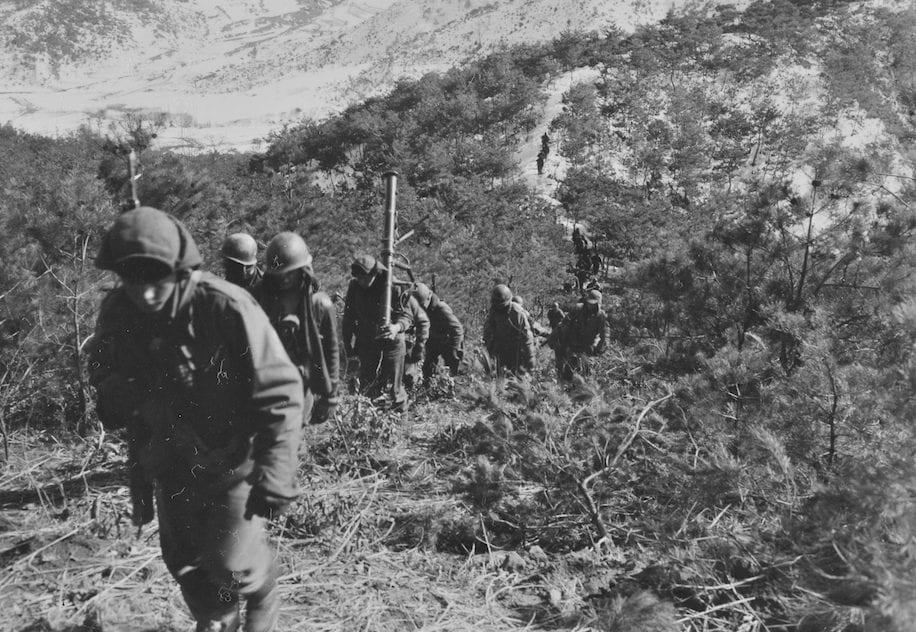 Rangers in typical Korean terrain, Hill 675, Feb. 20, 1951.