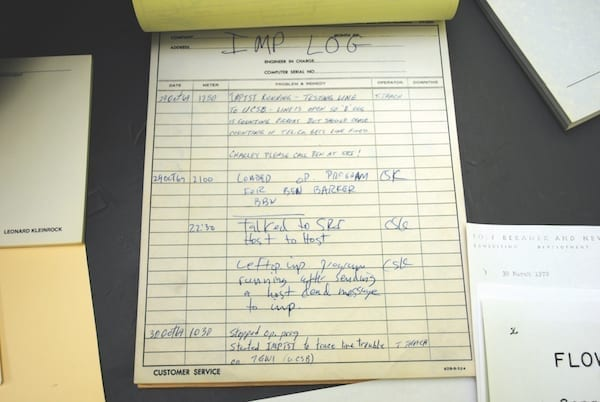 "The log entry for the IMP (Interface Message Processor) at UCLA, recording the first ARPANET message. It was sent on Oct. 29, 1969, at 22:30 Pacific Time from Boelter Hall 3420. (ANDREW ""FASTLIZARD4"" ADAMS VIA FLICKR)"