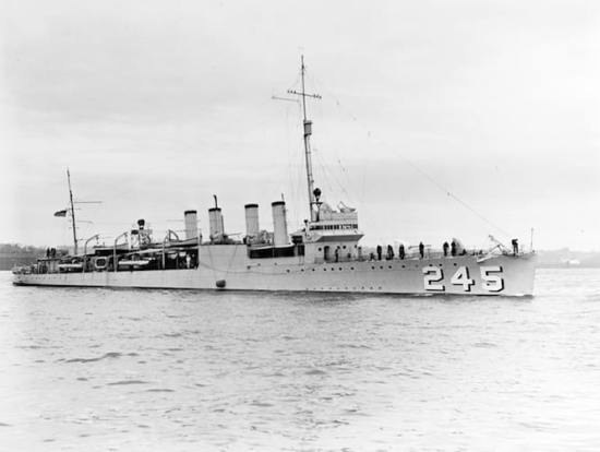 The U.S. Navy destroyer USS Reuben James (DD-245) on the Hudson River, New York, on April 29, 1939. Reuben James served as convoy escort in a neutrality zone greatly expanded in the lead-up to the United States' entry into World War II. The ship was sunk by a German torpedo near Iceland in October 1941.