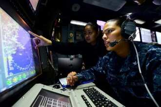 Sailors conduct radar training at sea. ATLANTIC OCEAN (Jan. 14, 2013) (U.S. Navy photo by Mass Communication Specialist 3rd Class Kevin J. Steinberg/Released)