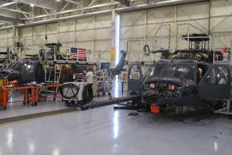 Two HH-60W Combat Rescue Helicopters are at the Sikorsky Development Flight Center in West Palm Beach, Florida, in preparation for flight test. Photo courtesy of Sikorsky.