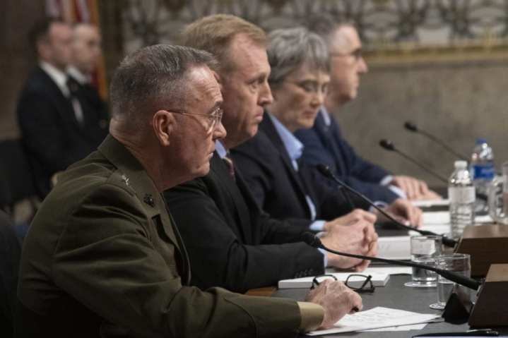 Acting Secretary of Defense Patrick M. Shanahan, Secretary of the Air Force Heather A. Wilson, Marine Corps Gen. Joe Dunford, chairman of the Joint Chiefs of Staff, and Air Force Gen. John E. Hyten, commander, United States Strategic Command, deliver testimony to the Senate Armed Services Committee. DoD Photo by Navy Petty Officer 1st Class Dominique A. Pineiro