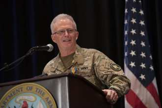 The commander of U.S. Special Operations Command, U.S. Army Gen. Raymond A. Thomas III, delivers remarks at his retirement ceremony, Tampa, Florida, March 29, 2019. (DoD photo by Lisa Ferdinando)