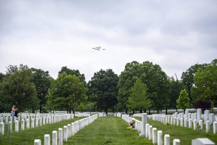 The Blue Angels fly a formation of F/A-18s over Section 60 of Arlington National Cemetery, Arlington, Virginia, May 9, 2019. U.S. Army photo by Elizabeth Fraser