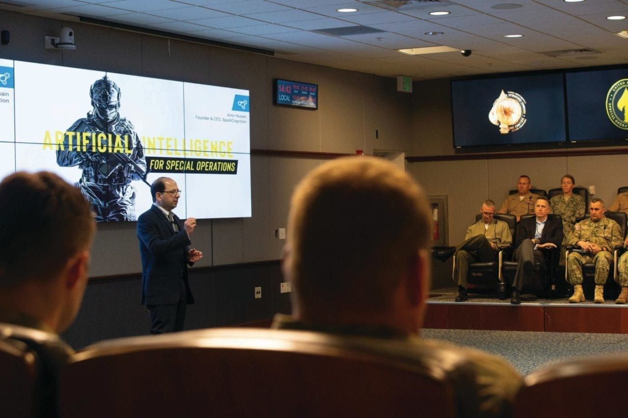 Amir Husain, author of The Sentient Machine , speaks about artificial intelligence at USSOCOM Headquarters on MacDill Air Force Base, Florida, Jan. 25, 2019. Husain's speech was part of the USSOCOM Commander's Speaker Series designed to inform and engage senior special operations forces leaders