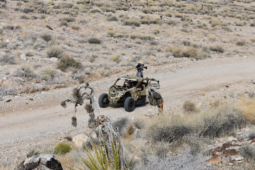 """Firing Talon """"on the move"""" from a Can Am all terrain vehicle"""