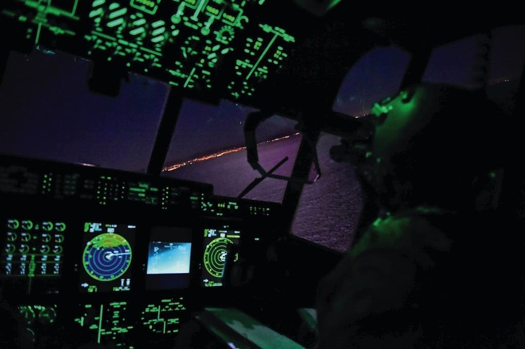 Capt. Douglas Bosin, 9th Special Operations Squadron pilot, performs conducts low-level operations in an MC-130J Commando II during Emerald Warrior/Trident at Naval Air Station North Island, Calif., January 21, 2019. Emerald Warrior/Trident is the largest joint special operations exercise where U.S. Special Operations Command forces train to respond to various threats across the spectrum of conflict