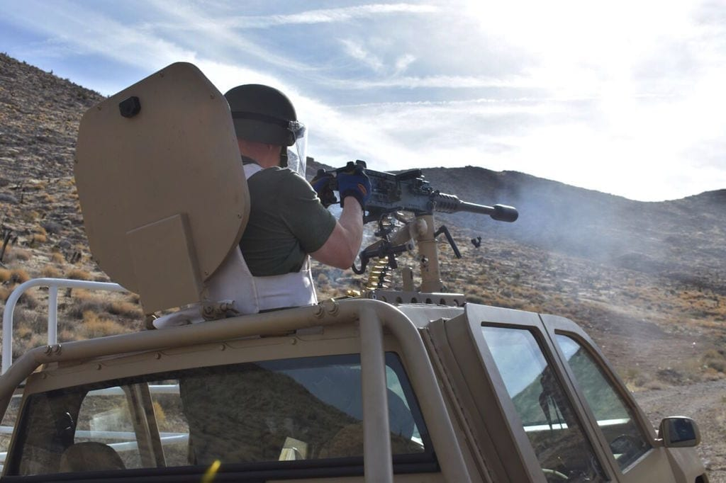 The Delta-P suppressor at work on a .50 caliber machine gun