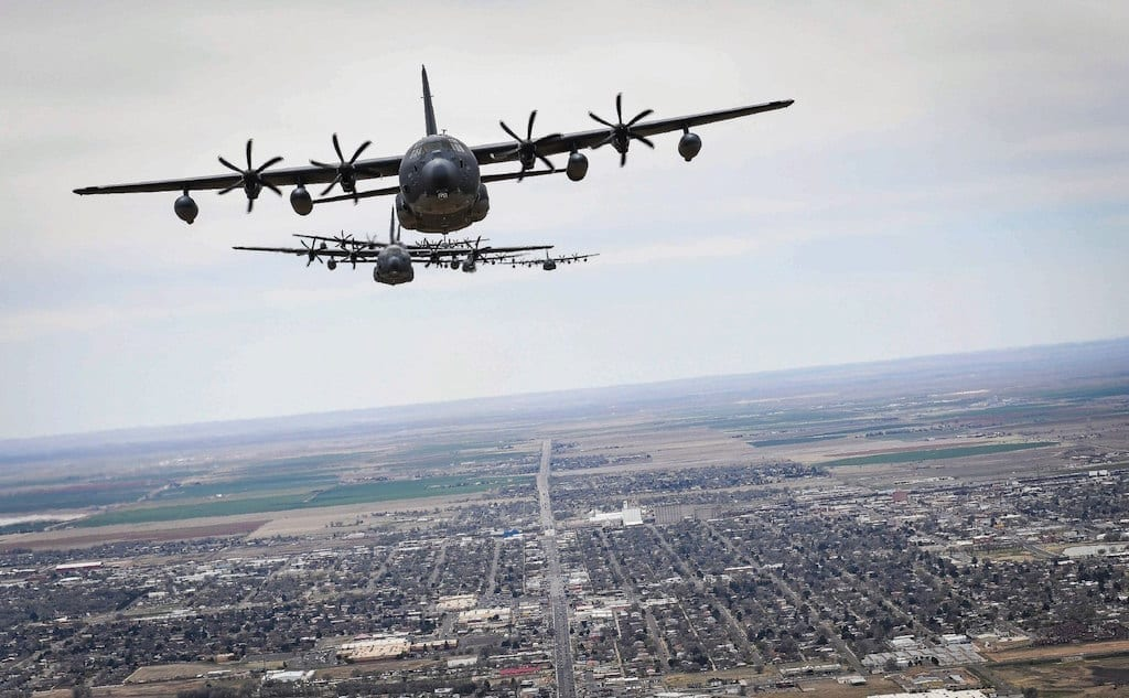 A formation of MC-130J Commando IIs fly over Clovis, New Mexico, Apr. 2, 2019. The 9th Special Operations Squadron celebrated its 75th anniversary by flying across New Mexico, at one point being joined mid-flight by aircraft from Kirtland Air Force Base, New Mexico