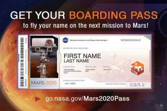 Members of the public who want to send their name to Mars on NASA's next rover mission to the Red Planet (Mars 2020) can get a souvenir boarding pass and their names etched on microchips to be affixed to the rover.