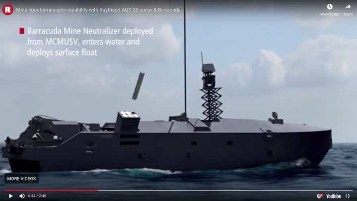 Barracuda Mine Neutralizer deployed from MCMUSV, enters water and deploys surface float (Raytheon image)
