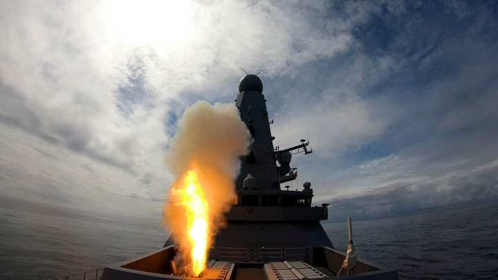 HMS Dedender Missile Firing. Sea Viper Firing as part of Exercise Formidable Shield, a multi national air defence exercise.