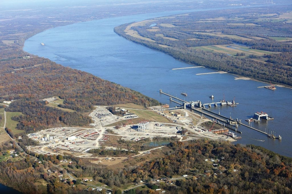 An aerial view of the completed Olmsted Locks and Dam project on the lower Ohio River