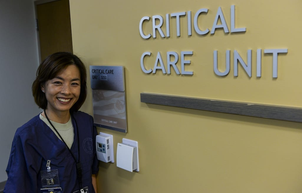 Capt. Min Choi, 99th Inpatient Operation Squadron clinical nurse in the critical care unit at the Mike O'Callaghan Federal Medical Center at Nellis Air Force Base, Nevada, March 2016. Critical care nursing is a complex and challenging nurse specialty to which many registered nurses aspire. Also known as intensive care unit nurses, critical care nurses use their advanced skills to care for patients who are at high risk for life-threatening health problems. (U.S. Air Force Photo Airman 1st Class Nathan Byrnes)