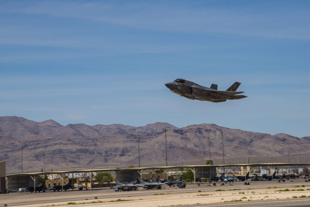 An F-35B Lightning II, assigned to Fixed Wing Marine Fighter Attack Squadron 122, takes off from Nellis Air Force Base, Nev., July 17, 2019 during Red Flag 19-3. The F-35 is designed to provide the pilot with unsurpassed situational awareness, positive target identification and precision strike in all weather conditions. (U.S. Air Force photo by Senior Airman Julian W. Kemper)
