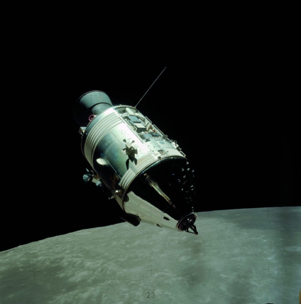 The Apollo 17 CSM America, piloted by astronaut Ron Evans, orbits 70 miles above the moon, where it was imaged by astronauts Gene Cernan and Harrison Schmitt as they returned from the lunar surface in December 1972. This was the ninth and last CSM to reach the moon, but through 1975four more were launched into Earth orbit for the Skylab and Apollo-Soyuz Test Project mission. The Scientific Instrument Module (SIM) has been revealed at the top of the service module.