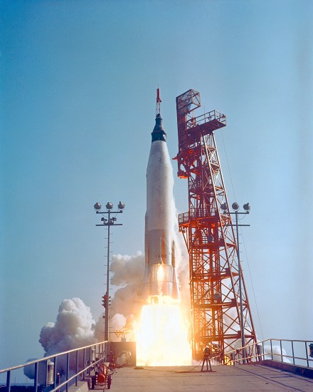 The launch of Friendship 7, the first American-manned orbital spaceflight. Astronaut John Glenn aboard, the MercuryAtlas rocket is launched from Pad 14