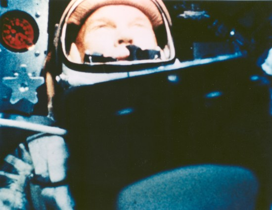 Astronaut John Glenn during his first orbit in Friendship 7