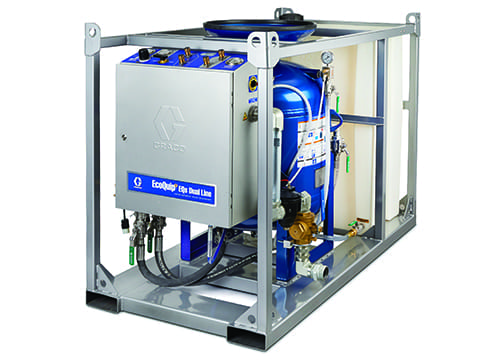 Designed for industrial markets such as oil and gas, marine and infrastructure, the EQs Dual Line allows contractors to complete large blasting jobs faster, with two outlets and a 12-cubic-foot pressure pot capable of blasting up to four hours with two blasters at once.