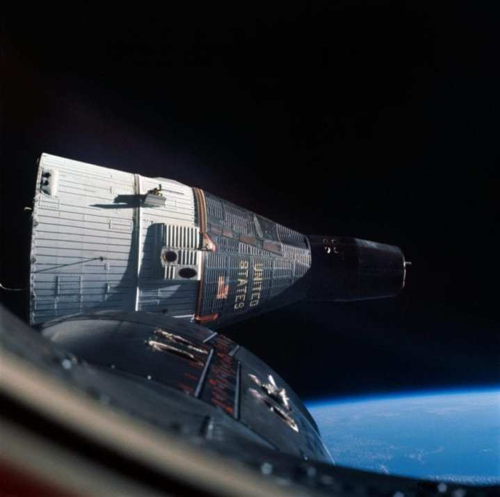 Gemini VII photographed from Gemini VI during the first rendezvous between two manned spacecraft in Earth orbit. The spacecraft practiced rendezvous and station-keeping maneuvers for one day in orbit. Gemini VI, with Walter M. Schirra, Jr. and Thomas P. Stafford aboard, launched December 15, 1965. Gemini VII, with Frank Borman and James A. Lovell aboard, launched December 4, 1965.