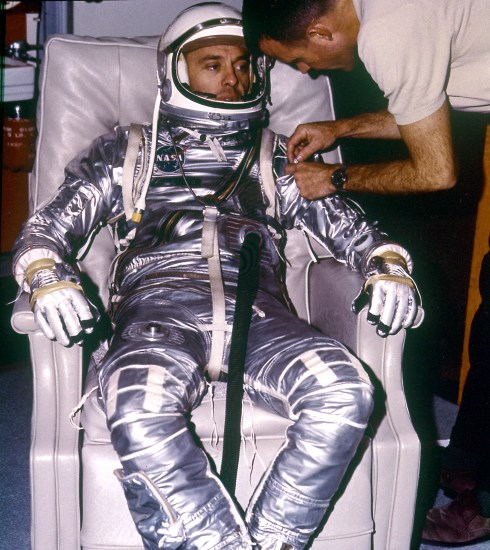 Astronaut Alan B. Shepard, Jr. During Suiting for First Manned Suborbital Flight on MR-3 (Mercury-Redstone) Freedom 7, on May 5, 1961 (MIX FILE)