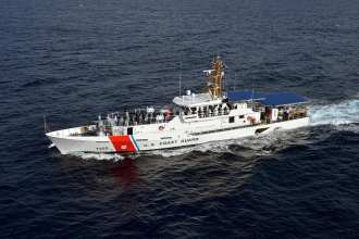 The USCGC Angela McShan, the third of three Fast Response Cutters to be home-ported in Cape May, NJ will join the cutters Rollin Fritch and Lawrence Lawson, seen here.