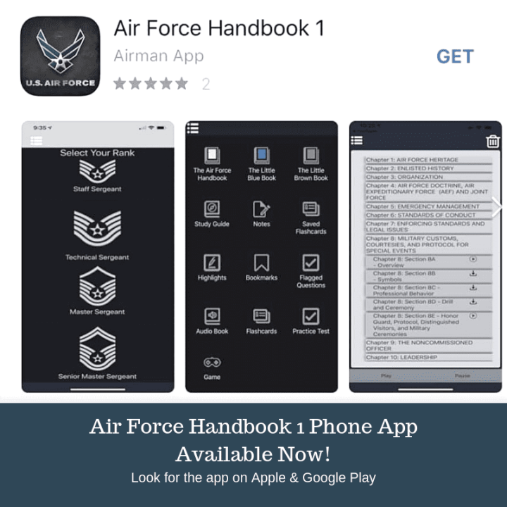 "The Air Force Handbook 1 phone application, available beginning Sept. 6, 2019, on both Apple and Google Play, includes the AFH1 and a study guide, as well as Air Force Instruction 36-2618, The Enlisted Force Structure, known as the ""The Little Brown Book."" There is also access to the ""The Little Blue Book"" focused on the profession of arms, as well as tools such as flash cards, audio and practice tests designed to help prepare Airmen for promotion testing. (U.S. Air Force graphic by Dan Hawkins)"