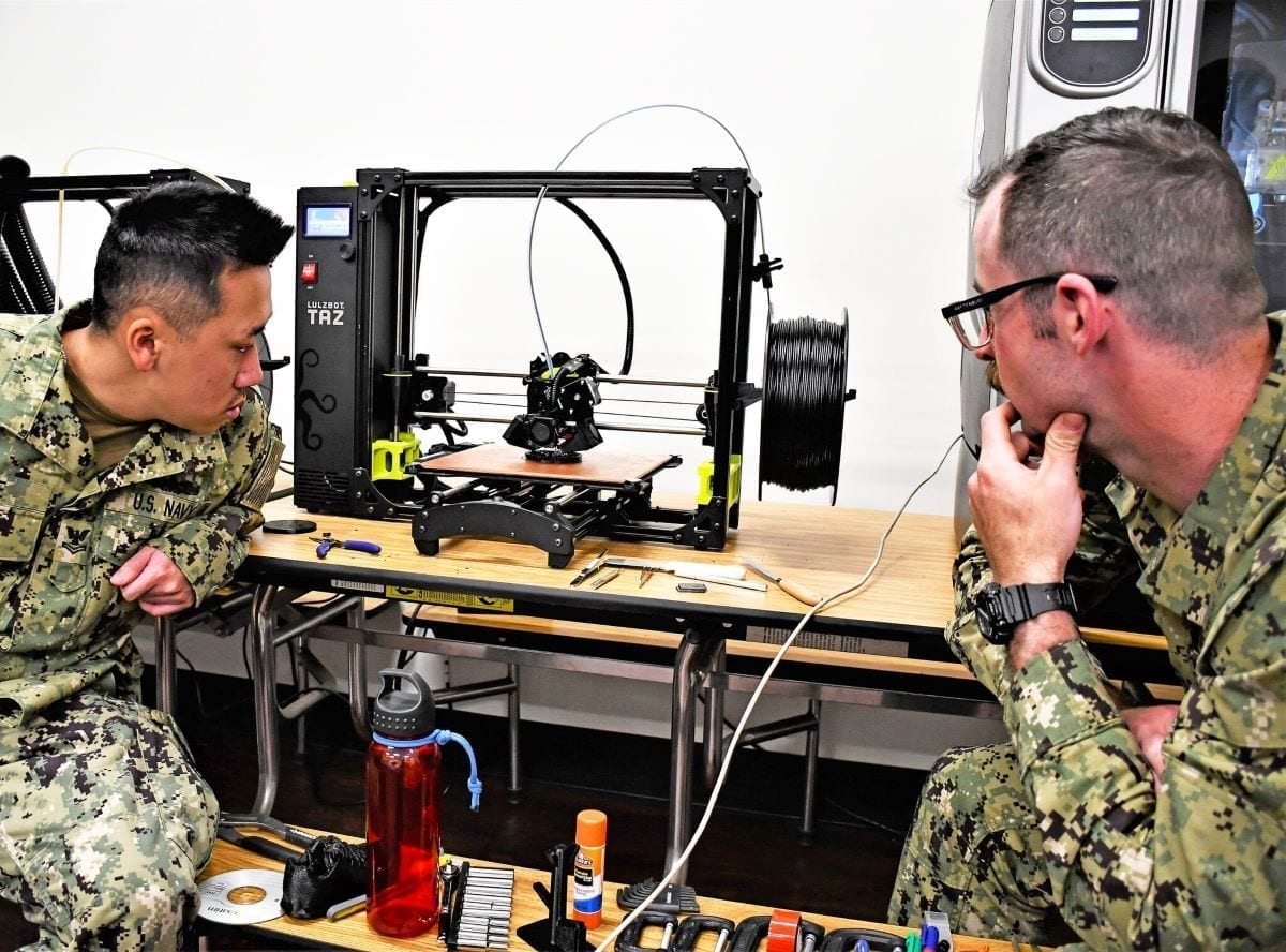 US Navy 3d-printing 3d printer navy sailors using additive manufacturing parts supplier logistics department of defense