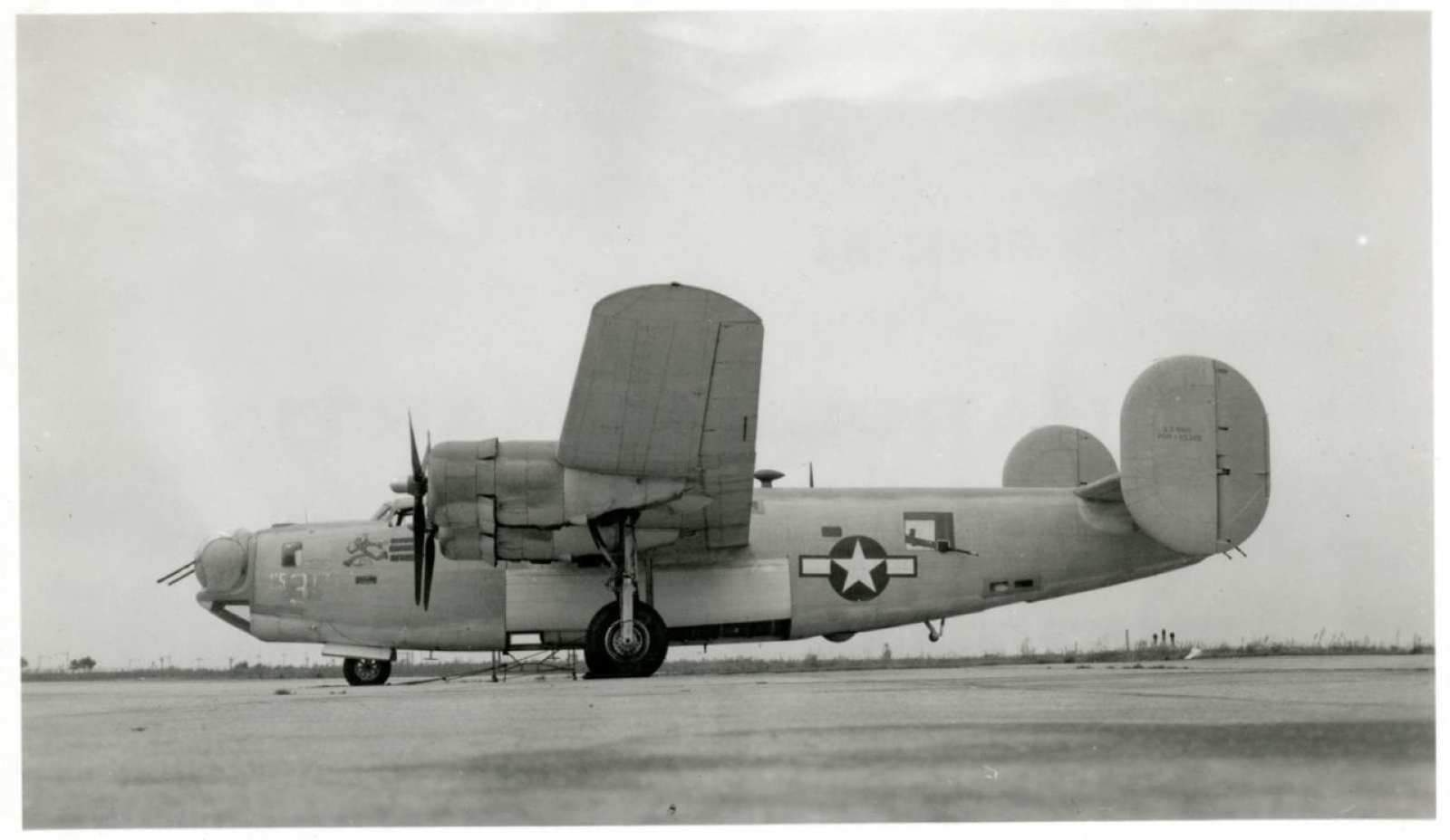 Left side view of Consolidated PB4Y-1 Liberator/Privateer (S/N 65385) on the ground.