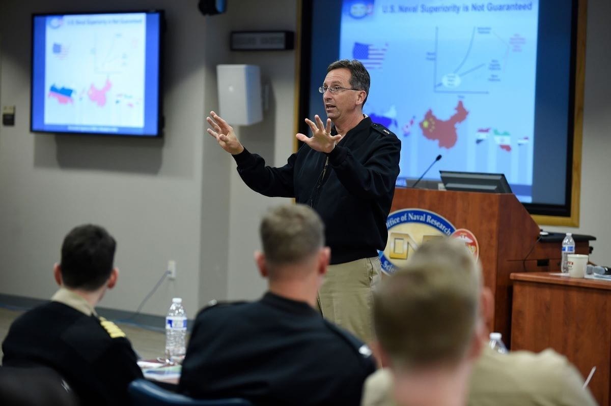 Rear Adm. David J. Hahn offers his thoughts on the naval research enterprise to members of the Office of Naval Research Reserve Component during their Winter Program Review.