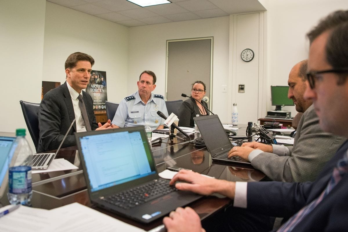 U.S. Department of Defense Chief Information Officer Dana Deasy and the Director of the Joint Artificial Intelligence Center, U.S. Air Force Lt. Gen. John N.T. Shanahan, hold a roundtable meeting at the Pentagon in Washington, D.C., Feb. 12, 2019.