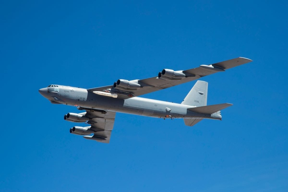 A B-52 out of EDW carries ARRW IMV asset for its first captive carry flight over Edwards Air Force Base.