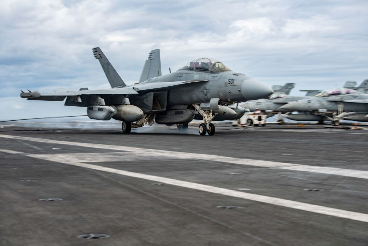 An EA-18G Growler from Electronic Attack Squadron (VAQ) 141 lands on the flight deck aboard the Navy's forward-deployed aircraft carrier USS Ronald Reagan (CVN 76). Ronald Reagan is participating in Talisman Sabre 2019, which illustrates the closeness of the Australian and U.S. alliance and the strength of the military-to-military relationship. It is the eighth iteration of this exercise. Ronald Reagan, the flagship of Carrier Strike Group 5, provides a combat-ready force that protects and defends the collective maritime interests of its allies and partners in the Indo-Pacific region. (U.S. Navy photo by Mass Communication Specialist 2nd Class Janweb B. Lagazo/Released)