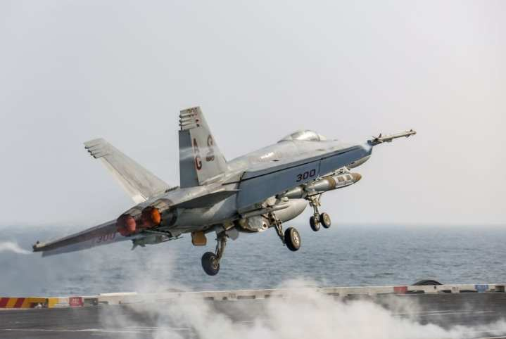 An F/A-18E Super Hornet attached to the Sidewinders of Strike Fighter Squadron (VFA) 86 launches from the flight deck of the aircraft carrier USS Abraham Lincoln (CVN 72). The Abraham Lincoln Carrier Strike Group is deployed to the U.S. 5th Fleet area of operations in support of naval operations to ensure maritime stability and security in the Central Region, connecting the Mediterranean and the Pacific through the western Indian Ocean and three strategic choke points. With Abraham Lincoln as the flagship, deployed strike group assets include staffs, ships and aircraft of Carrier Strike Group (CSG) 12, Destroyer Squadron (DESRON) 2, the guided-missile cruiser USS Leyte Gulf (CG 55) and Carrier Air Wing (CVW) 7. (U.S. Navy photo by Mass Communication Specialist 3rd Class Michael Singley/Released)