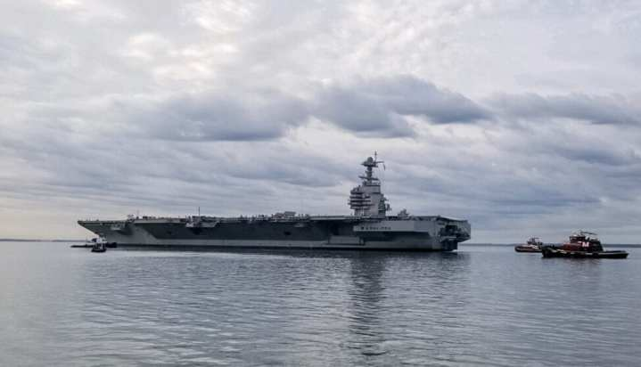 The aircraft carrier USS Gerald R. Ford (CVN 78) departs Huntington Ingalls Industries-Newport News Shipbuilding, Oct. 25, 2019, to conduct sea trials. (U.S. Navy photo/Released) (Photo by U.S. Navy photo/RELEASED)