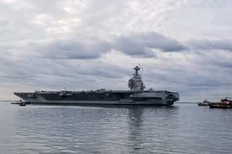 The aircraft carrier USS Gerald R. Ford (CVN 78) departs Huntington Ingalls Industries-Newport News Shipbuilding, Oct. 25, 2019, to conduct sea trials. (U.S. Navy photo/Released) (Photo by U.S. Navy photo/RELEASED)