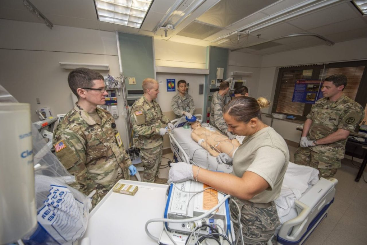 Army and Air Force doctors assess a simulated trauma patient at Brooke Army Medical Center, Fort Sam Houston, Texas, Sep. 4, 2019. A trauma patient today might generate 10,000 images for a radiologist to look at.