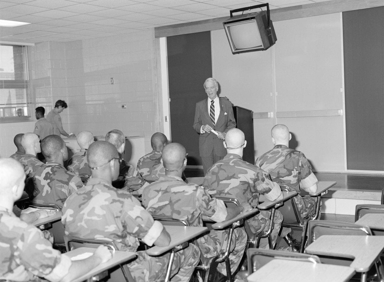 Rep. G.V. Montgomery D-Miss, speaks about G.I. Bill to Marine Corps recruits in 1987.