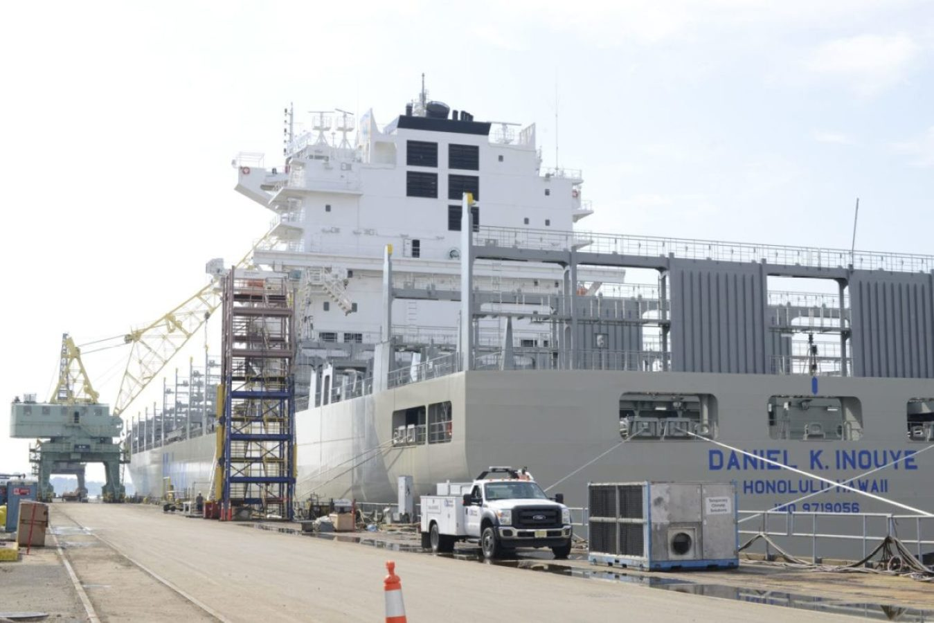 The Daniel K. Inouye, an 850-foot container ship being constructed in Philadelphia Shipyards, is the largest container vessel constructed in the United States, and is one of many ships marine inspectors from Coast Guard Sector Delaware Bay work with to ensure maritime safety and security.