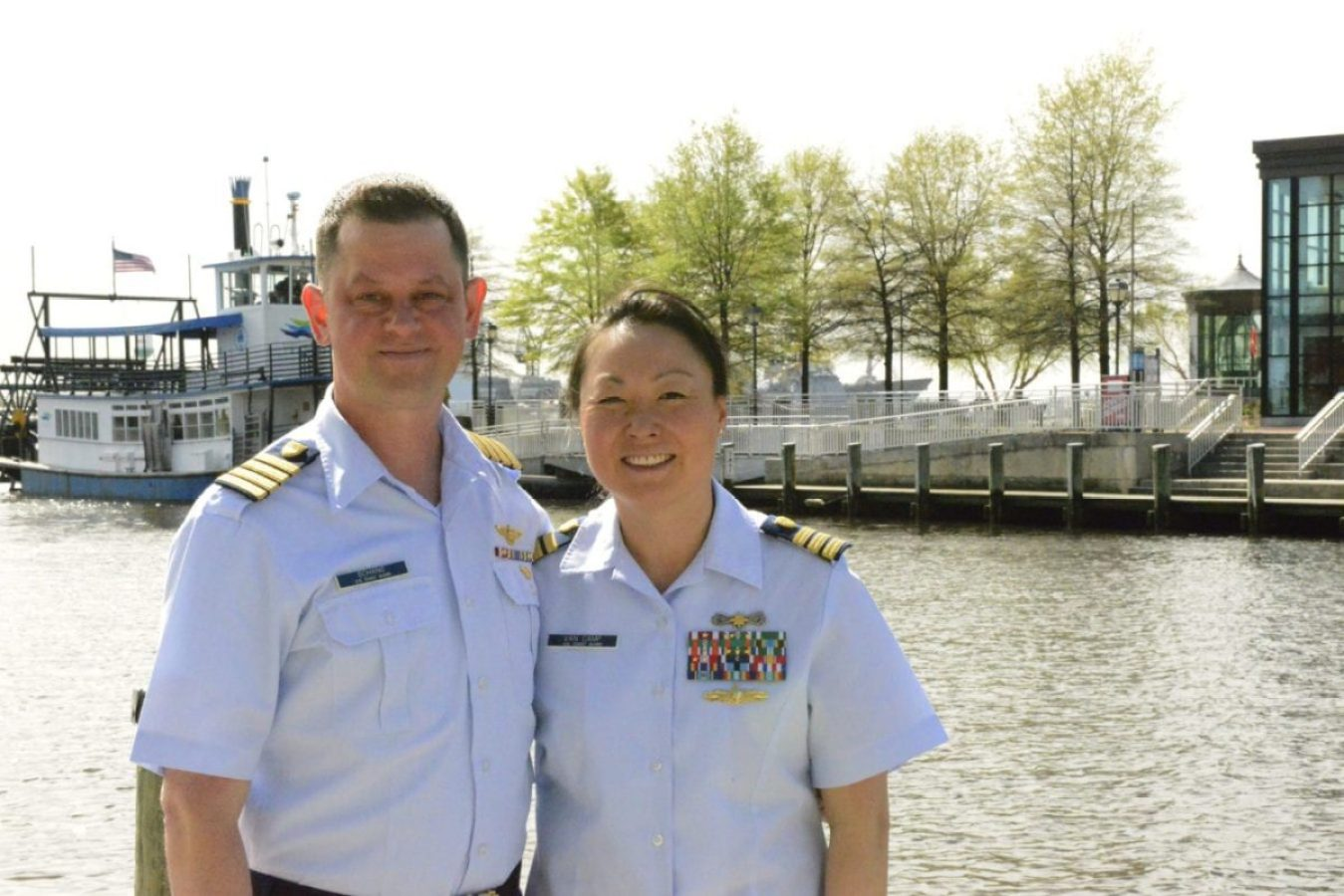 Capt. Timothy Schang and Cmdr. Eva Van Camp are a married couple serving in the U.S. Coast Guard. The Coast Guard is working to better communicate workforce policies and programs to its people, such as its success in co-locating married personnel.