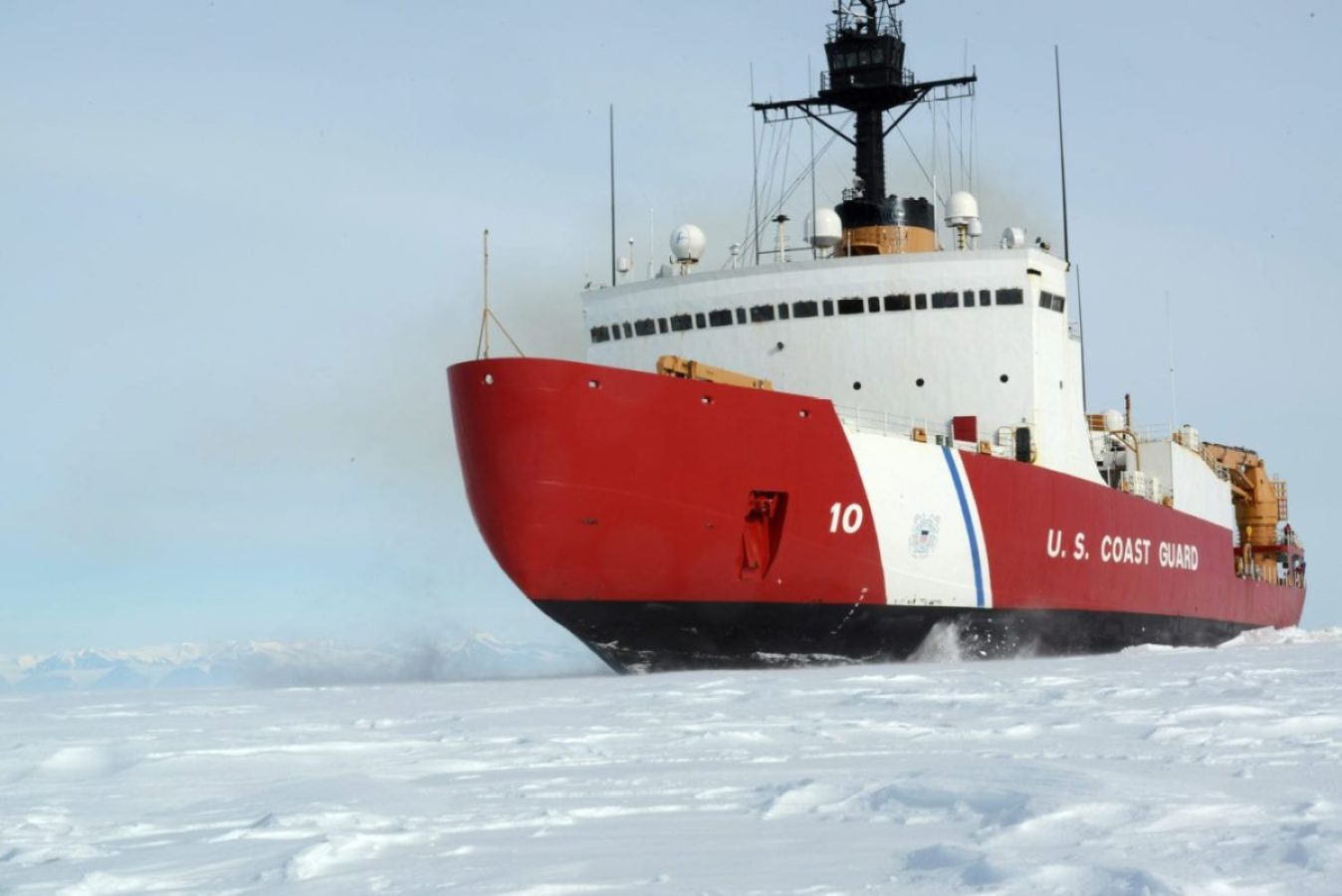 The Coast Guard Cutter Polar Star, with 75,000 horsepower and its 13,500-ton weight, is guided by its crew to break through Antarctic ice en route to the National Science Foundation's McMurdo Station, Jan 15, 2017. The ship which was designed more than 40 years ago, remains the world's most powerful non-nuclear icebreaker.