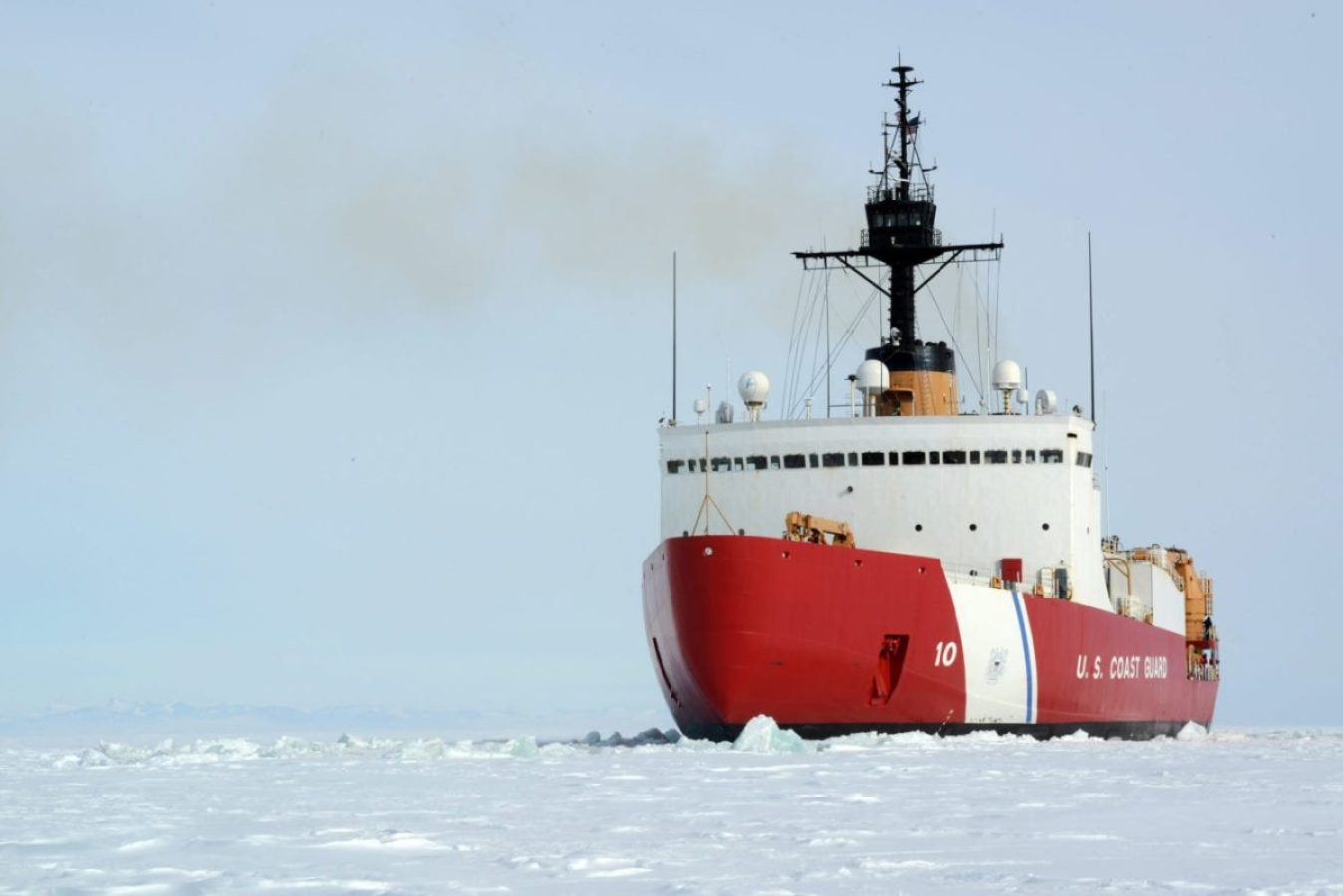 The Coast Guard Cutter Polar Star backs and rams through dense ice off the Antarctic coast, Jan. 15, 2017. The Polar Star and its crew work to establish a resupply channel through Antarctic ice to enable ships to reach the National Science Foundation's McMurdo Station every year. Polar Star is the nation's only heavy icebreaker, and is 43 years old.