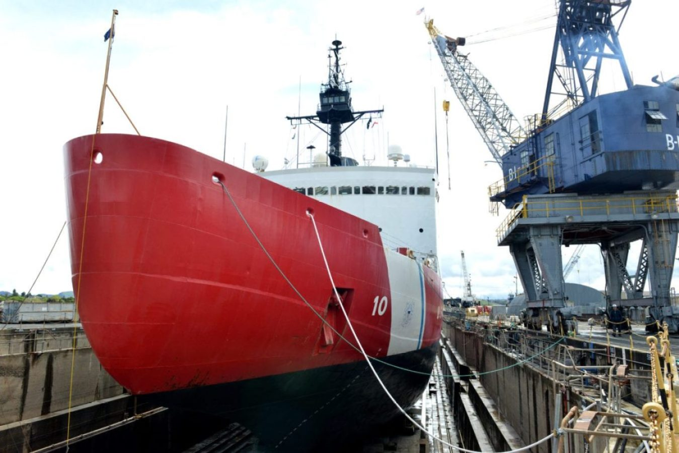 The Coast Guard Cutter Polar Star sits on blocks in a Vallejo, California, dry dock facility underground depot-level maintenance including inspections and repairs to critical cutter components prior to the cutter's next patrol, April 17, 2018. As activity in the polar regions continues to grow, the Coast Guard maintains its aging icebreaking assets to protect U.S. security, environmental, and economic interests in these regions of the world.
