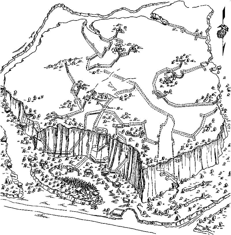 One of several sketches prepared by the 31st U.S. Naval Construction Battalion of Japanese tunnel systems and fortifications. The sketch shows the north face and top of Hill 362A on Iwo Jima. Dotted lines indicate the underground Japanese tunnel system. This paled by comparison with the 7 stories of tunnels just within Mount Suribachi. More than 15 miles of tunnels were dug into an 8-square-mile island. U.S. NAVY IMAGE