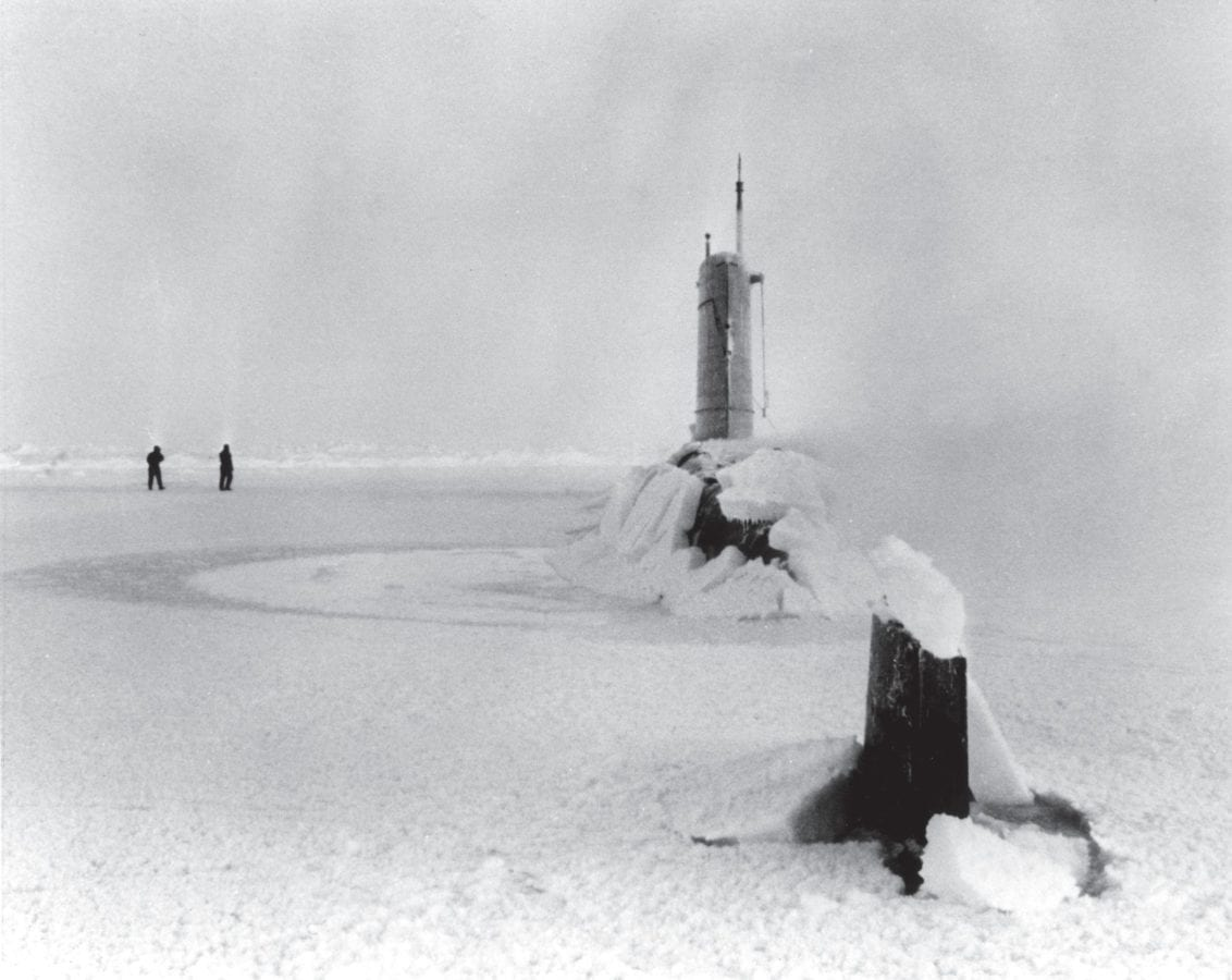 The U.S. Navy nuclear submarine Skate (SSN 578), at the North Pole, 1962. Nuclear power transformed submarine design and operations.