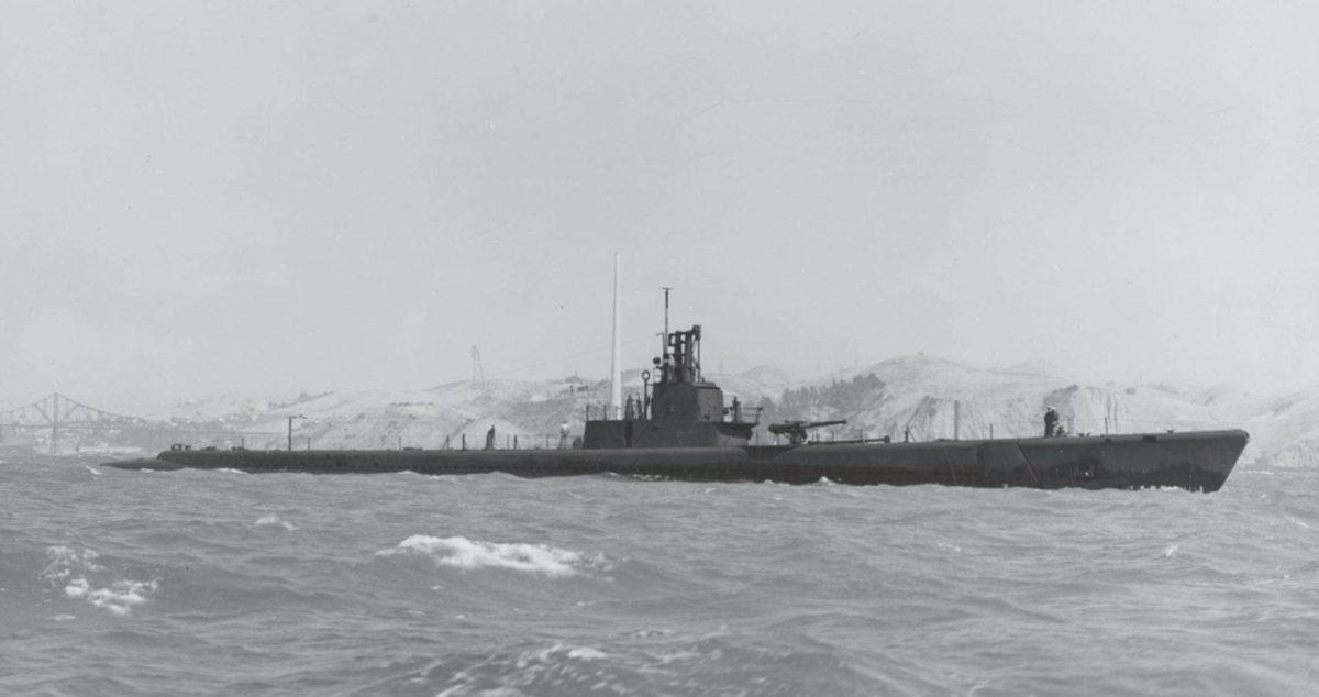 USS Wahoo (SS 238) off the Mare Island Navy Yard, California, July 14, 1943.