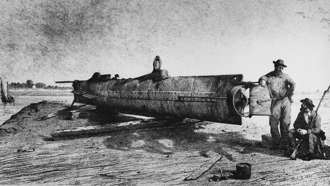Drawing of the Confederate submarine H. L. Hunley. A small hand-powered submarine, Hunley was built privately at Mobile, Alabama, in 1863, based on plans furnished by Horace Lawson Hunley, James R. McClintock, and Baxter Watson. On Feb. 17, 1864, she sank USS Housatonic by detonating a spar torpedo against her side, but was also sunk herself.