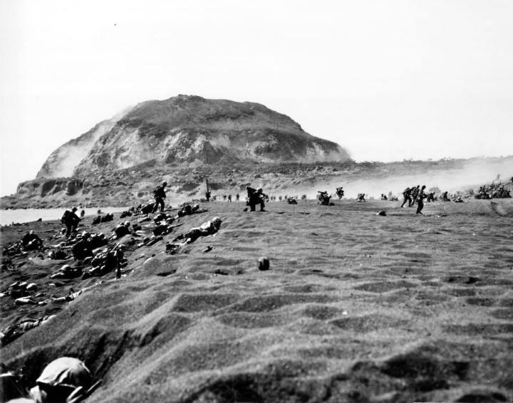 U.S. Marines Landing on Iwo Jima Drive Inland
