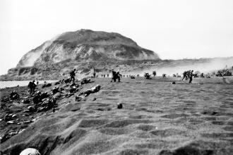 U.S. Marines Landing on Iwo Jima Drive Inland