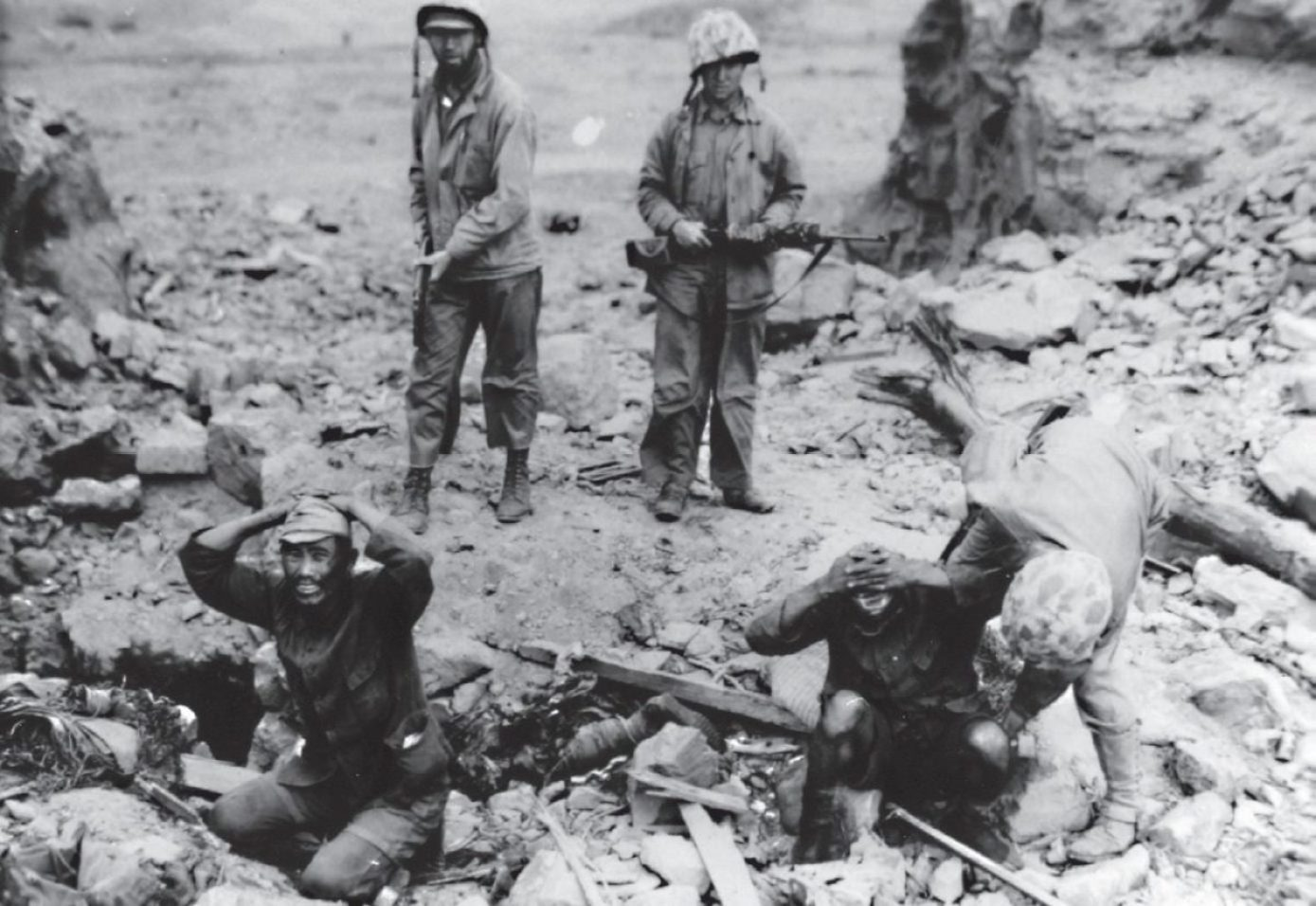 """The Japanese soldiers' philosophy of non-surrender made capturing them alive something of a rarity on Iwo Jima. The """"Courageous Battle Vows"""" of the island's defenders read as follows: """"Above all, we shall dedicate ourselves and our entire strength to the defense of this island. We shall grasp bombs, charge enemy tanks and destroy them. We shall infiltrate into the midst of the enemy and annihilate them."""" U.S. MARINE CORPS HISTORICAL CENTER"""